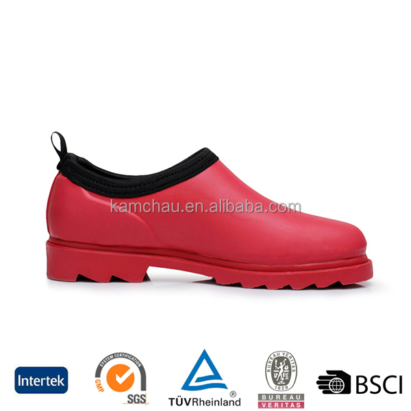2016 fashion western unique design custom logo ladies ankle red rubber rain boots