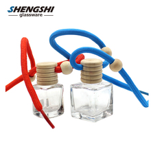 wholesale empty wooden cap hanging car hanging car air freshener square perfume glass bottle