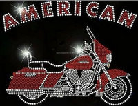American Motorcycle Rhinestone Iron on Transfer