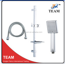 TM-1066Cixi Manufacturer bathroom accessories stainless steel square shower sliding bar with hand shower head set