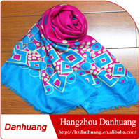 Fashionable voile polyester flower printed long hijab scarf shawl scarf knitting patterns