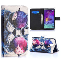 Funny Glasses Cat Pattern Wallet Style TPU and PU Flip Leather Case for Samsung Galaxy Note 4 N910