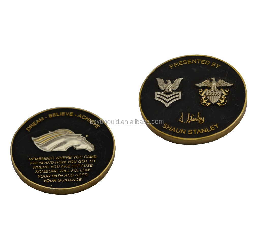 Custom metal double coin 3D blanks gold eagle replica coins
