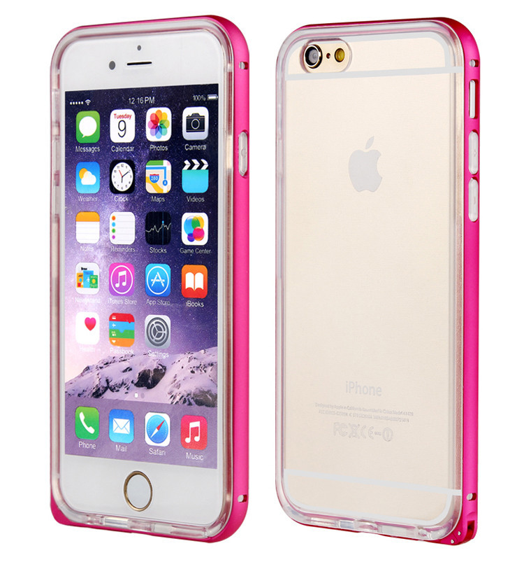 Elegant signal hole metal bumper + tpu back cover for iphone 6s