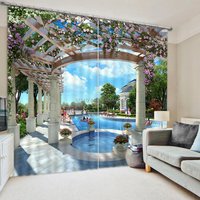 Fancy swimming pool garden modern 3d curtains for living room