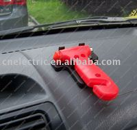 Car emergency hammer with knife to cut seat belt