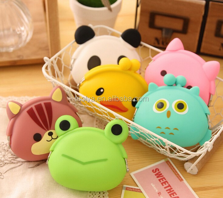 Wholesale Cheap Handbags Fashion Silicone Animals Coin Purse Ladies' Cute Wallet