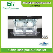 Stainless steel dish pull out basket