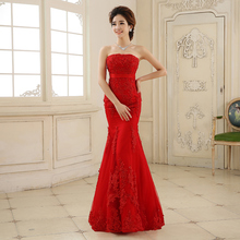 Quality Sweetheart Women Fish Tail Red Slim Party Dress Mermaid Embroidered Bridal Gown Dresses
