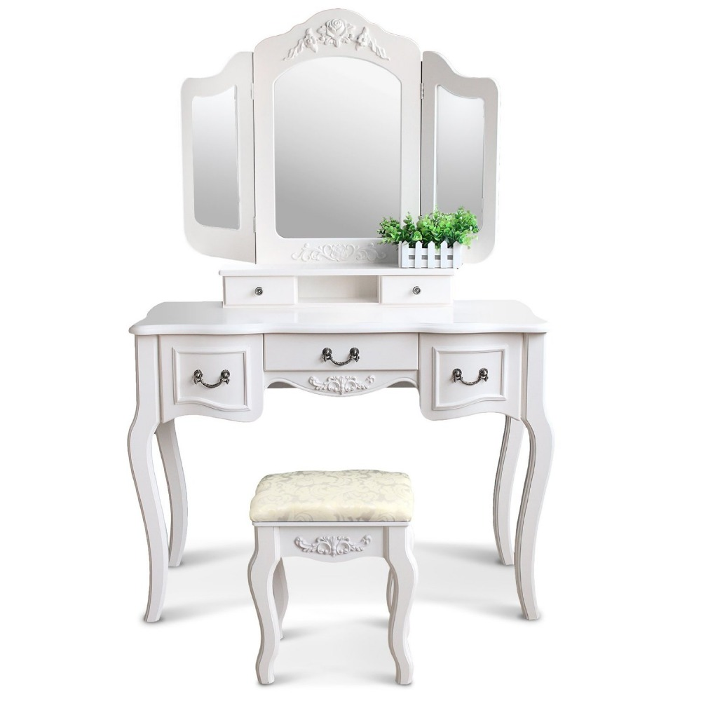 Factory Direct Wholesale Cheap Vanity 2016 Lady's Makeup Vanity Dressing Table White