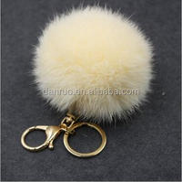 Speed sell pass hot style furry ball key chain plush key 8 cm rabbit wool bag key pendant