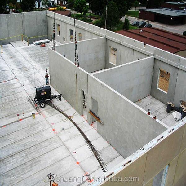 Prefabricated house hollow core floor roof slab making for Concrete panel house