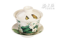 Shin Tai Yuan, Embossed Vernicia Fordii Series, 150ml tea cup with a lid and a saucer