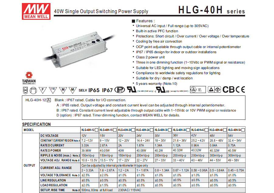 HLG-40H Original Meanwell 40W~600W Enclosed Switching Power