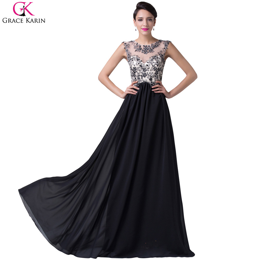 0a8a3da6502 Buy Elegant Grace Karin A-line Robe De Soiree Long Lace Wedding Party  Evening Gowns Dress Celebrity Formal Prom Dresses Black CL6267 in Cheap  Price on ...