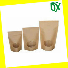kraft paper bag for food packing with window stand up round corner