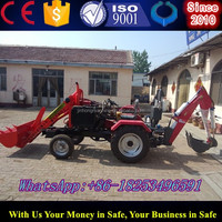 Garden tractor with front bucket loader abd backhoe with super quality and competitive prices