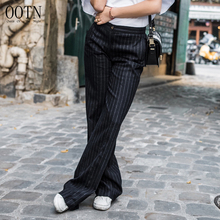 OOTN 2019 New Women Fashion Female Pockets Straight Pants Office Ladies Middle Waist Loose Black Trousers Striped Wide Leg Pants