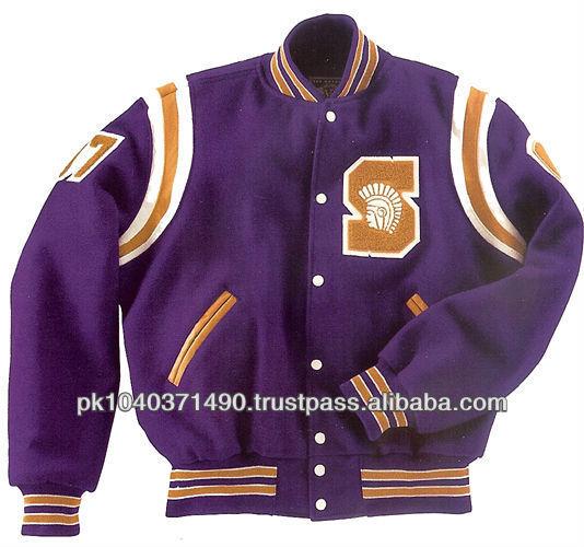 Retro Shoulder Insert Style All Wool Varsity Jacket