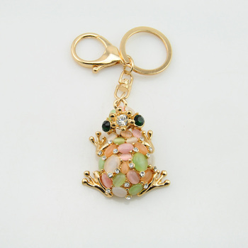 Custom Fashion Diamante Frog Shape Metal Live Animal Keychain
