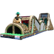 commercial Extreme Rush military boot camp Camo theme inflatable obstacle course/ obstacle challenge with 19' Slide for hire