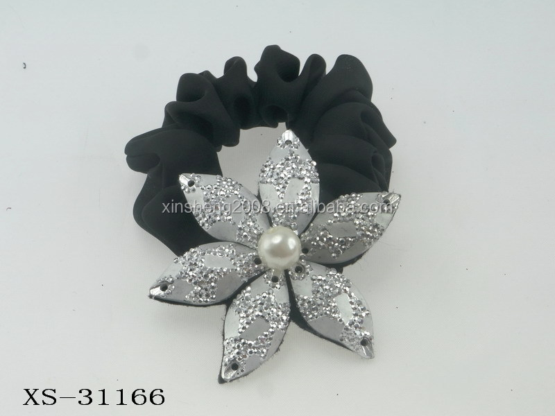 korean Accessories Wholesale Flower Crystal Pearl Elastic Hair band for Ponytail