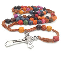 Plastic Rose Bead Rosay With Cord Knit Rosary