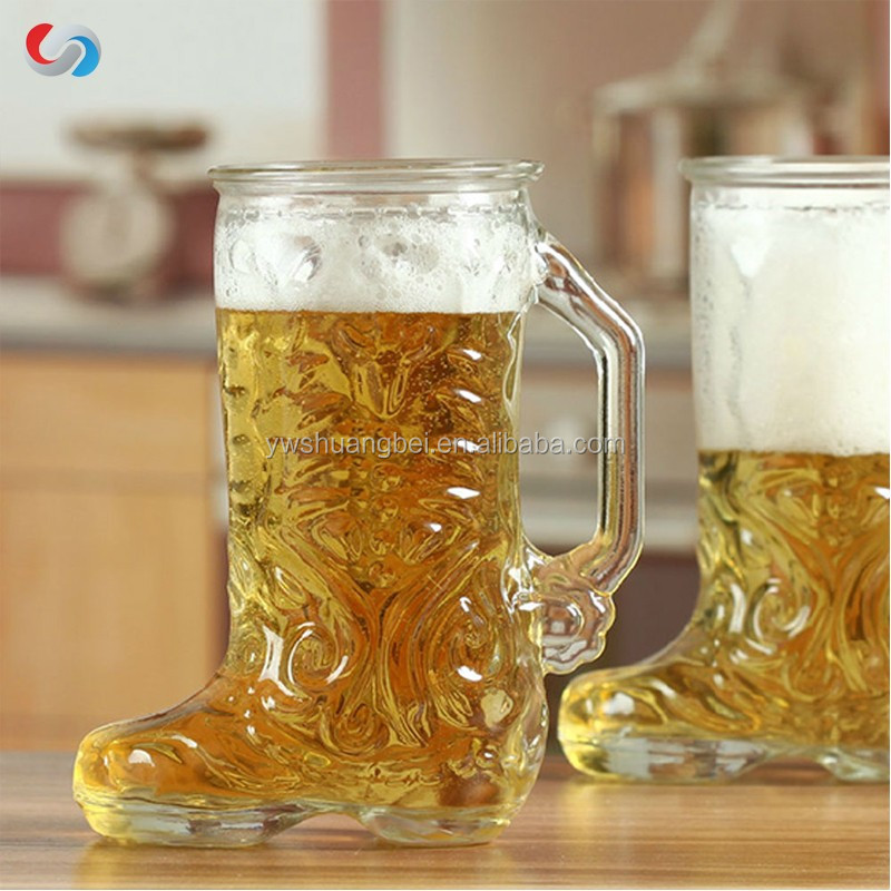 2016 hot selling creative high quality large shoes shape beer glass cup with mug