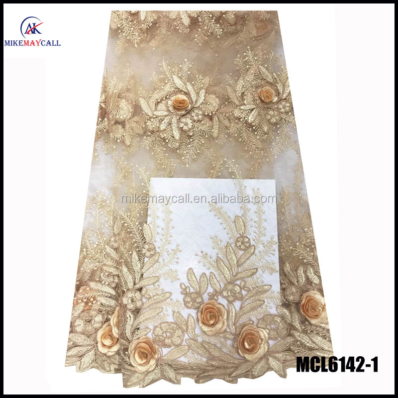 MCL6142-1 white thread 3D fabric african french stones net lace fabric