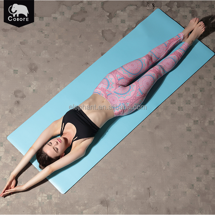 Top quality yoga product exercise accessories blue durable resilient PU mat