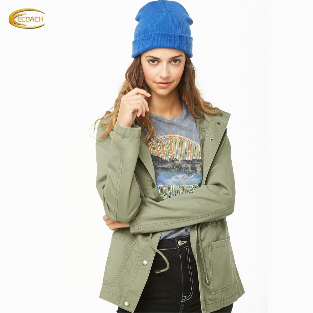 Wholesale OEM Supplier custom brand green color <strong>button</strong> front Hooded <strong>Utility</strong> Jacket with toggle drawstring waist