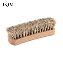 EKEM Portable Leather Shine Wooden Horse Hair Shoe Brush