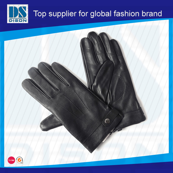 2017 fashion best seller fashion black men's fullfinger cowskin leather gloves