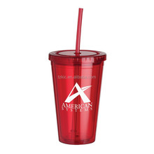 16oz Hard two wall clear plastic drinking cup with lid and straw