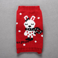 Classic Red Dog Christmas Holiday Rabbit Pattern Clothes Knit Warm Sweater for Dogs Cats