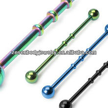 Unique plated titanium bamboo industrial barbell many colors high polished