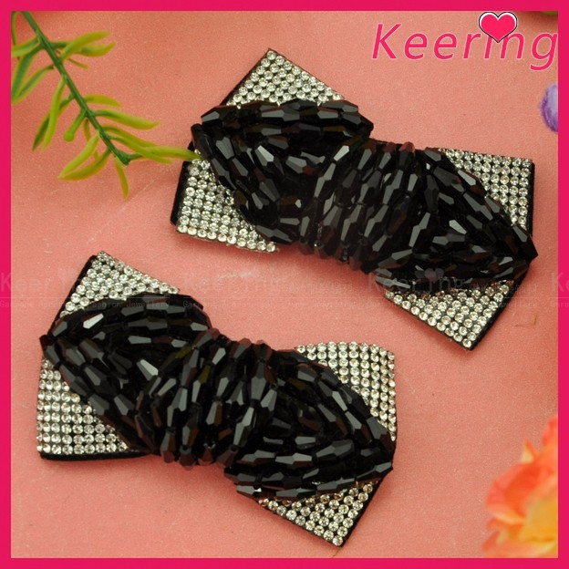 Keering fashion decorative black beads ornaments with stones for shoes WSF-004