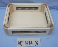 wooden tray with metal handle