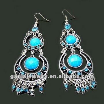Vintage Turquoise Resin Jhumha Chandelier Earrings