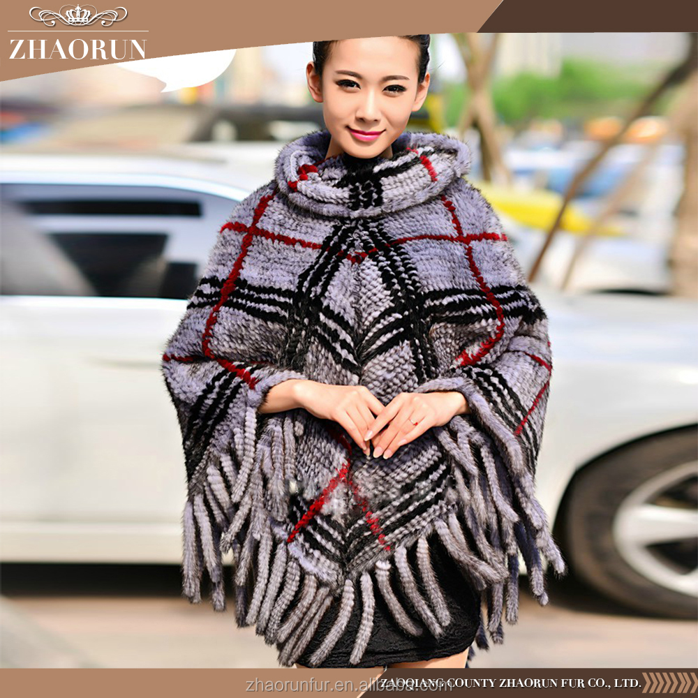 Factory Price Women Knitted Mink Fur Shawl Cape