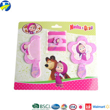 FJ Brand plastic pink comb mirror suit gift for girl kids hair terry cartoon promotional cute hair accessories set