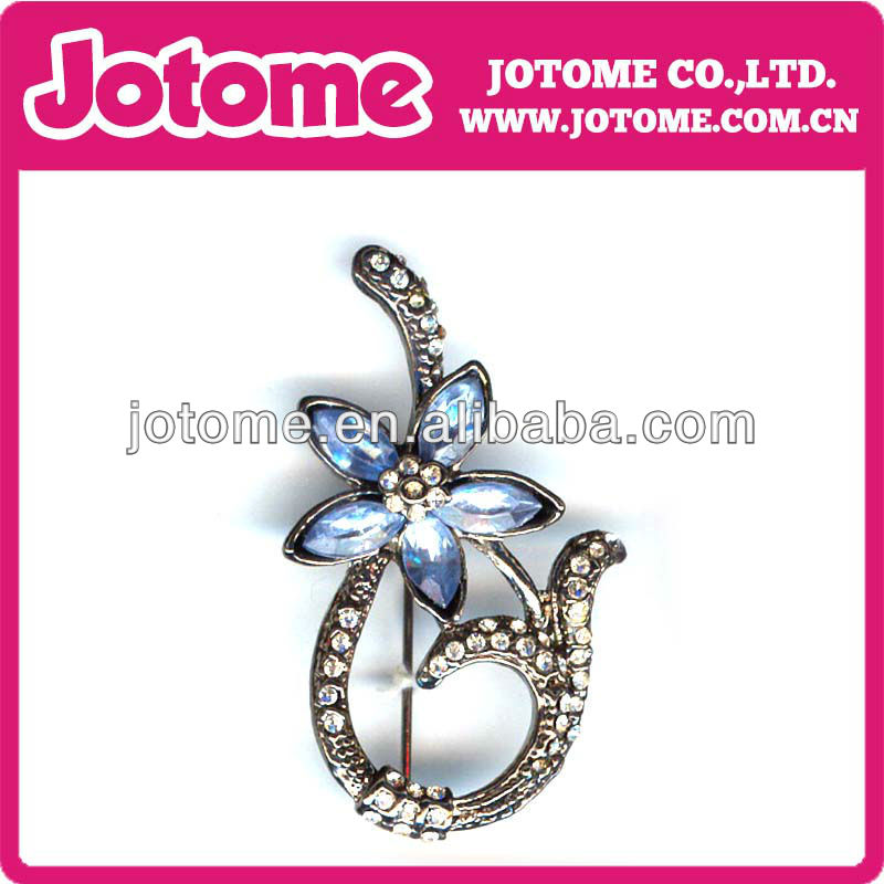 Wholesale - Italina Luxury Austria Crystal Violet Big Flower Topper Pin Brooch Platinum Plate Brooch