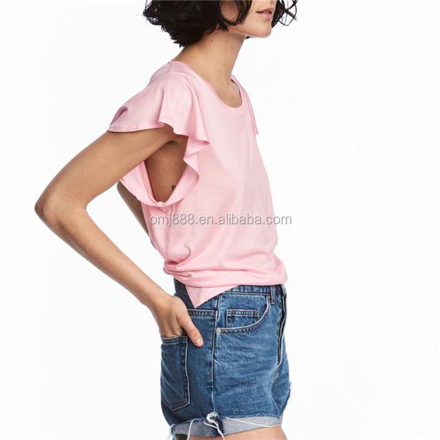 2017 Hot Lace ruffle pink Women Off Shoulder Boho Clothing top