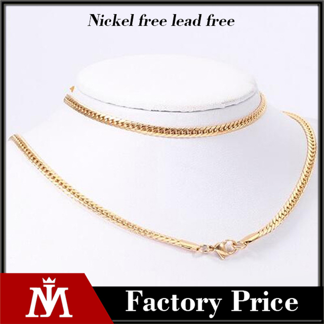 New fashion solid gold necklace women cuban flat link chain