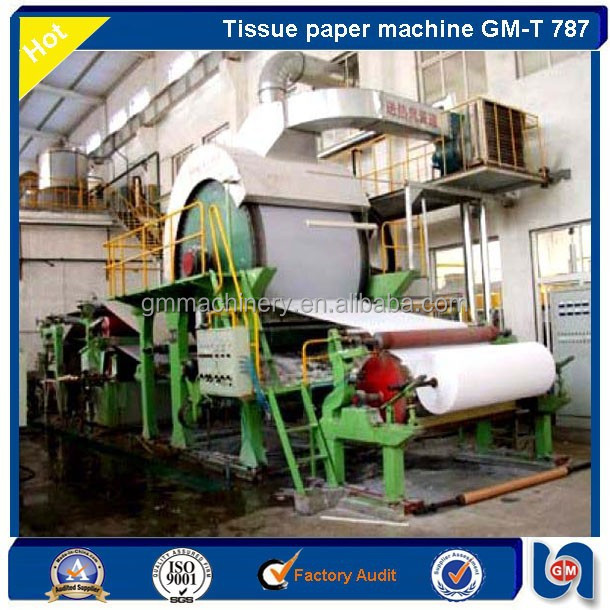 1880/160, 5TPD Stable Running Cylinder Mould Tissue Paper Machine raw material waste paper/ virgin pulp/ paper making machinery