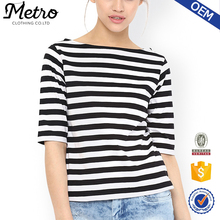 Women Boat Neck White and Black Stripe T-shirt Ladies Top