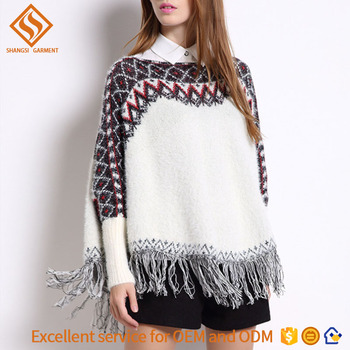 2017 Autumn poncho women knit sweater wholesale , ladies long sleeve pullover sweater