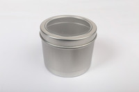6.67oz round aluminum tin canister with clear window lid. 200g aluminum slip tin for soy wax candle