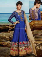 Embroidered blue anarkali suits