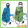 Folding shopping cart shopping trolley with chair cooler bag